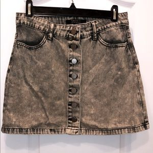 Acid Wash Denim Button Skirt